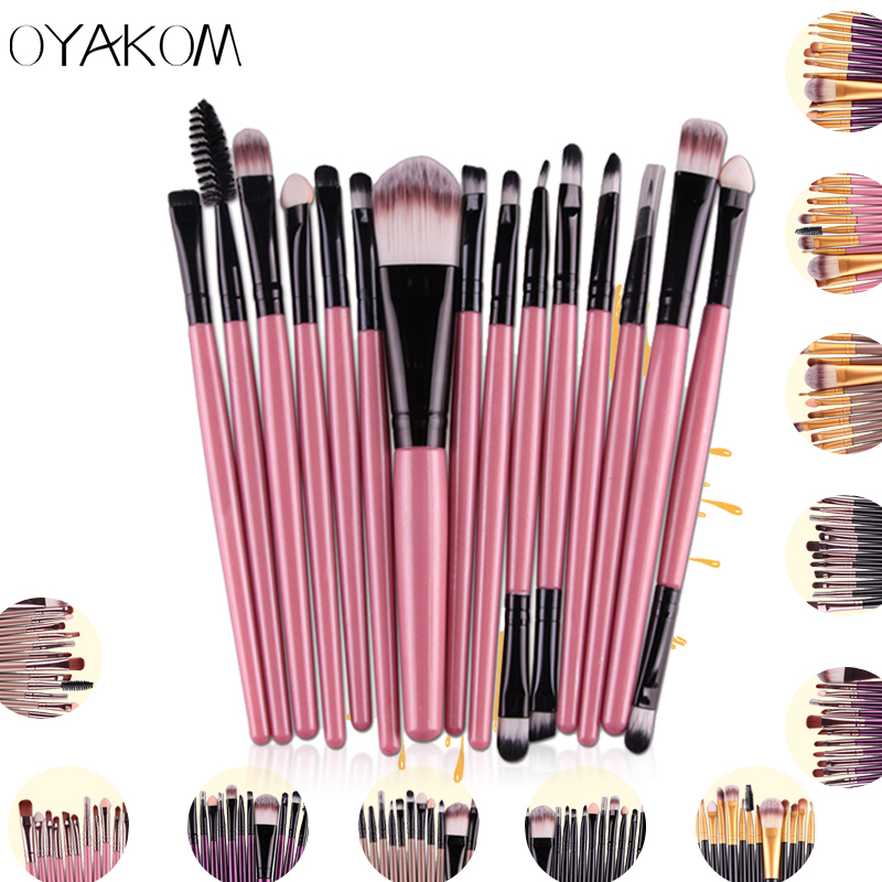 OYAKOM 15pcs/set Eye Shadow Foundation Eyeliner Eyebrow Lip Brush Makeup Brushes Set Tools Cosmetics Kits Beauty Makeup Brush