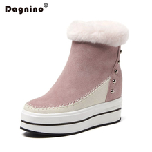 DAGNINO Genuine Leather Women's Rabbit Hair Snow Boots Flat Winter Warm Fur Height Increasing Rivet Casual Ankle Shoes Female(China)