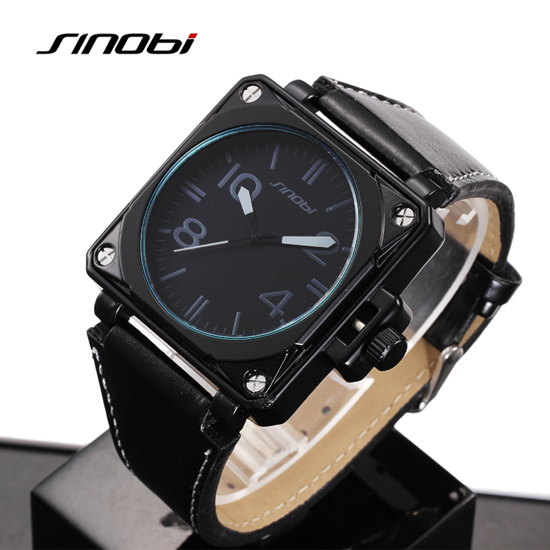 SINOBI Wristwatch Men Fashion Military Sports Watches Waterproof Leather Analog Quartz Watch Hour Male Clock relogio masculino<br><br>Aliexpress