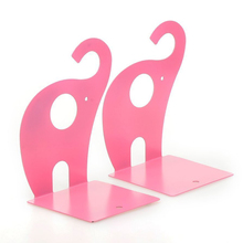 1pair of Pink Cute Elephant Non-skid Bookends Book Rack book Organizer(China)