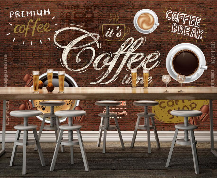 Custom food shop wallpaper,Coffee and brick,3D retro murals for the cafe restaurant hotel background wall PVC wallpaper<br>