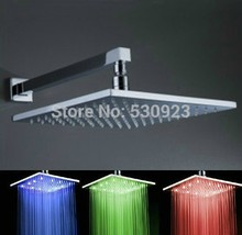 12 inch Square Soild Brass LED Three Color Temperature Changing Lighted Shower Head With Shower Arm