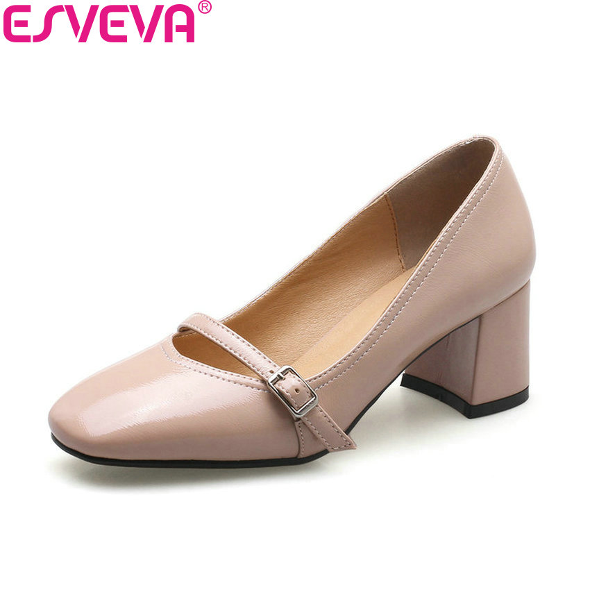 ESVEVA 2018 Women Pumps Buckle Mary Janes Square High Heels Square Toe Black Fashion Out Door Ladies Shoes Size 34-43<br>