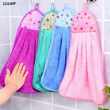 2017 New Thick Coral Velvet Kitchen Hanging Cloth Nursery Clean hand towel cloth Soft Plush Fabric  Hanging Wipe Bathing Towel