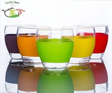 1x  10fl.oz/300ml Multicolor Sweet Style Heat-Resisting Clear Glass Tea Drink Cups Mugs
