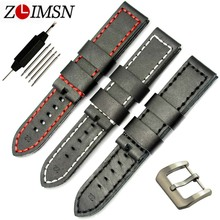 ZLIMSN Leather Watchbands  Men  White Red Watch  Bands stitched Black thick Strap  pin buckle clasp20-24mm
