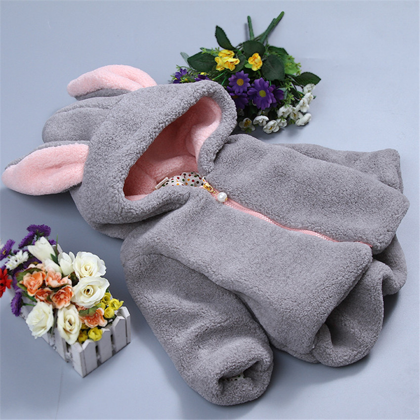 2017 The children girls cotton-padded clothes garments Winter child lambs wool pink gary rabbit ears and mian coatОдежда и ак�е��уары<br><br><br>Aliexpress