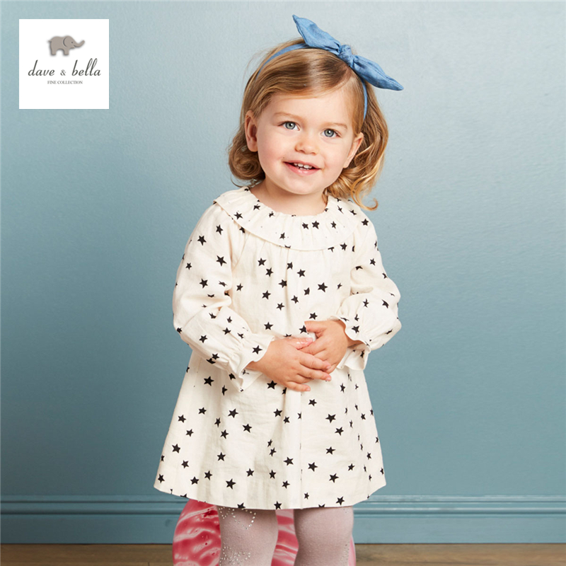 DB3944 dave bella autumn baby girl star printed dress baby cute birthday white dress girls costumes<br>