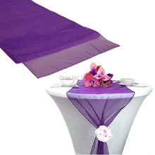 "12""x108"" / 30*275cm 50pcs High Quality purple Organza Table Runner for Wedding decoration Banquet Venue Decoration"