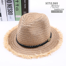 Straw Fedoras Hat for Children Panama Fedora Summer Style Beach Sun Jazz Cap Kids Cowboy Sun Hat 1pc