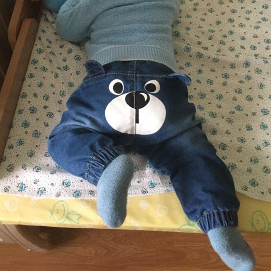 bear printed Baby Denim Jeans Pants Warm Soft Leggings Boys Girsl Newborn Bebe Harem Trousers Infant Toddler Blue Pantalones Children Clothes