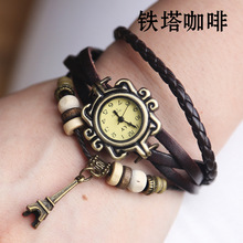 Wholesale Fashion Tower Pendant Cow Leather watch women ladies men dress quartz wrist watch with bead KOW059
