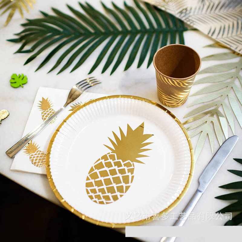 Summer Series Pinapple Disposable Tableware Gilding Paper NapkinsCupPlate Party Supplies Home Wedding Party Decoration DT47 (8)