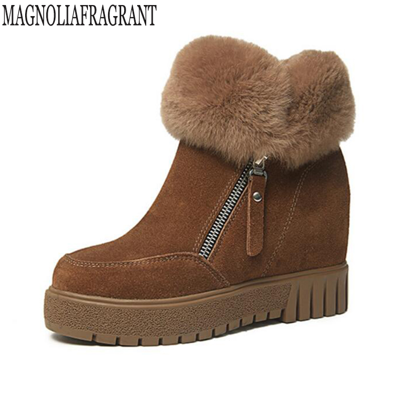 Womens boots Women Fashion High Quality Women Genuine Suede Leather Rabbit hair Warm  Internal increase Winter Snow Boots k546<br>