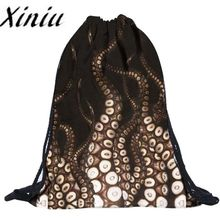 Xiniu Unisex backpack women unique Octopus Backpacks 3D Printing Bags Drawstring shopping Backpack mochila feminina #4l