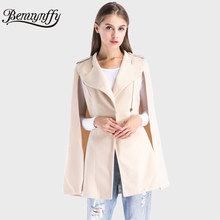 Benuynffy Winter Coat Long Women Elegant Cape Coat Ladies New Arrival Apricot Woolen Zipper Casual Outerwear Women's Coats W501(China)