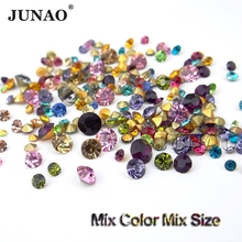 JUNAO 1100pcs Mix Color Mix Size Point Rhinestones Nail Glass Stones Round Pointback Strass Crystals for Clothes Jewelry Crafts