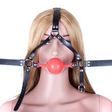 Buy 48mm Big Ball Gag PVC Leather Head Harness Mask Open Mouth Gag Adult Game Erotic Sex Products Bondage Restraint Sex Toys