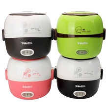 1.3L Electric Portable Rice Cooker Insulation Heating Electric Lunchbox 2 Layers Steamer Multifunction Automatic Food Container(China)