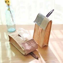 Creative Home Hanging Bags Cloth Multipurpose Jute Cotton Bags Tissue Box Folded Paper Towel Box Pumping Storage Organizers