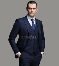 Custom Made high quality 150's worsted pure wool blue Business suit Men Slim Fit Suit(jacket+pants+vest)(China)