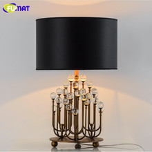FUMAT Table Lamps Modern Bedroom Bedside Lamp Luxury Crystal Abajur Luminaria with Fabric Lampshade Coral K9 Crystal Table Lamp(China)