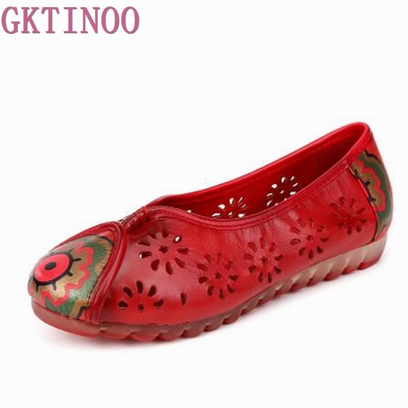 2017 Women Flat Shoes Woman Summer Flats Hollow Out Comfortable Soft Genuine Leather Loafers Shoes<br>