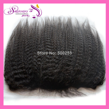 Natural Looking Peruvian Virgin Hair Kinky Straight Silk Base Lace Frontal Piece In Stock