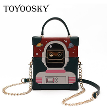 TOYOOSKY New Luxury Cute Robot Box Shaped Chain Clutch Bag For Women Funny Party Evening Bag Mini Cell Phone Pouch Messenger Bag