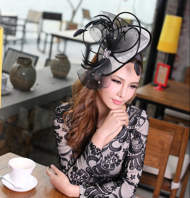 Women s Hair Fascinator Hats Black Hair Accessories Flower Girl Hair Bows with Clips<br>