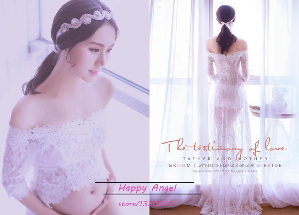 Maternity women Photography Props Very Beautiful feeling Long Lace aesthete Dress Fancy Photo Shoot See-through Romantic<br>