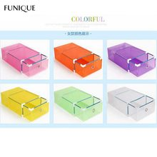 FUNIQUE Translucent Storage Shoebox Candy Color Metal-edged Drawer Type Plastic Storage Box Storage Kinds Of Colors Simple