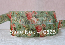 Q&N ribbon wholesale/OEM 5/8inch 1122012 Flower Printed folded over elastic webbing FOE 50yds/roll free shipping(China)