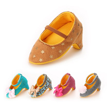 Cute Fashion Bow Baby Girls High Heeled Shoes First Prewalkers Soft Soled Newborn Pricess Girls Shoes High Top Baby Girls Pumps