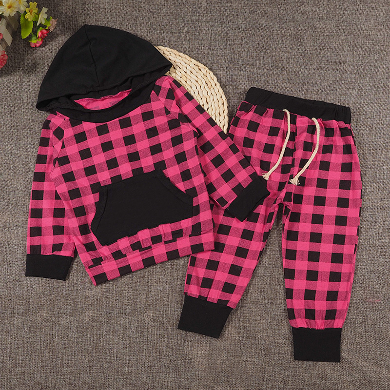 New 2017 Baby Girl Spring Clothing Set Ins Infant Cotton Red Black Plaid Hoodies &amp; Pants Toddler Fashion Suit size 70 to 100<br><br>Aliexpress