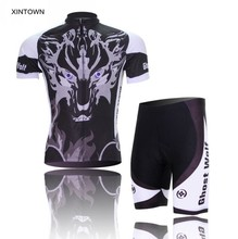 2016 XINTOWN Ropa Ciclismo Bike Mens Ghost Wolf Sleeve Jerseys With Pad Sets (BIB) Shorts Set breatheable Cycling Set S-4XL(China)
