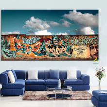 Graffiti Background White Clouds China Giclee Print on Canvas Painting Art Picture Wall Art Modern Room Living Home Decor Poster