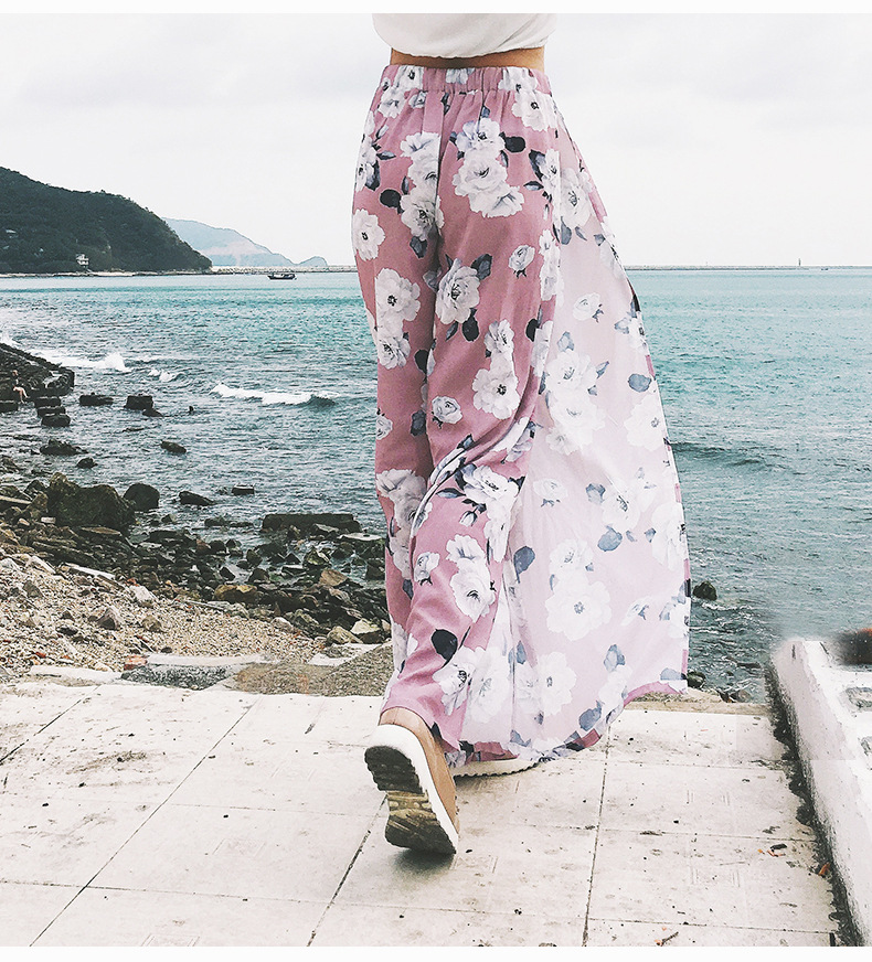 2018 Women Pants Beach Floral Print High Waist Plus Size Loose Chiffon Casual Wide Leg Pants Pink Split Sexy Women Trousers Sale 7