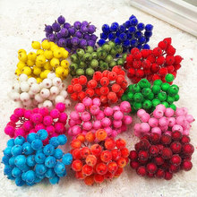 20pcs/40head Artificial Fruit glass Berries Stamen Christmas decoration DIY Candy gift box Scrapbooking red cherry Bouquet(China)