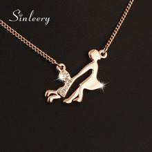 SINLEERY Unique Zircon Playing Mum And Baby Choker Necklace Rose Gold Color Women Clavicle Chain For Mother's Day Gifts Xl411(China)