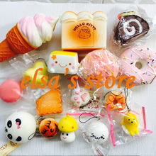 squishies wholesale 10pcs mixed kawaii icecream cake donut squishy charm strap for mobile phone slow rise squishy soft hanpillow
