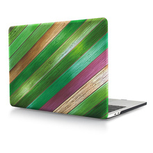 HRH Green Twill Wood Laptop Shell Protective Hard Case Sleeve for Macbook Pro Retina13 12 15 Air 13 11 New Pro Touch Bar 13 15