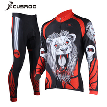 CUSROO 2017 New Lions printing Men's Cycling Jersey Set specialized bicycle shorts long cycling jersey bike racing clothing(China)