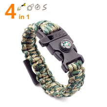 4 in 1 Emergency Survival Bracelet For Men Women Whistle Compass Paracord Bottle Opener Outdoor Rescue Parachute Cord Wristband