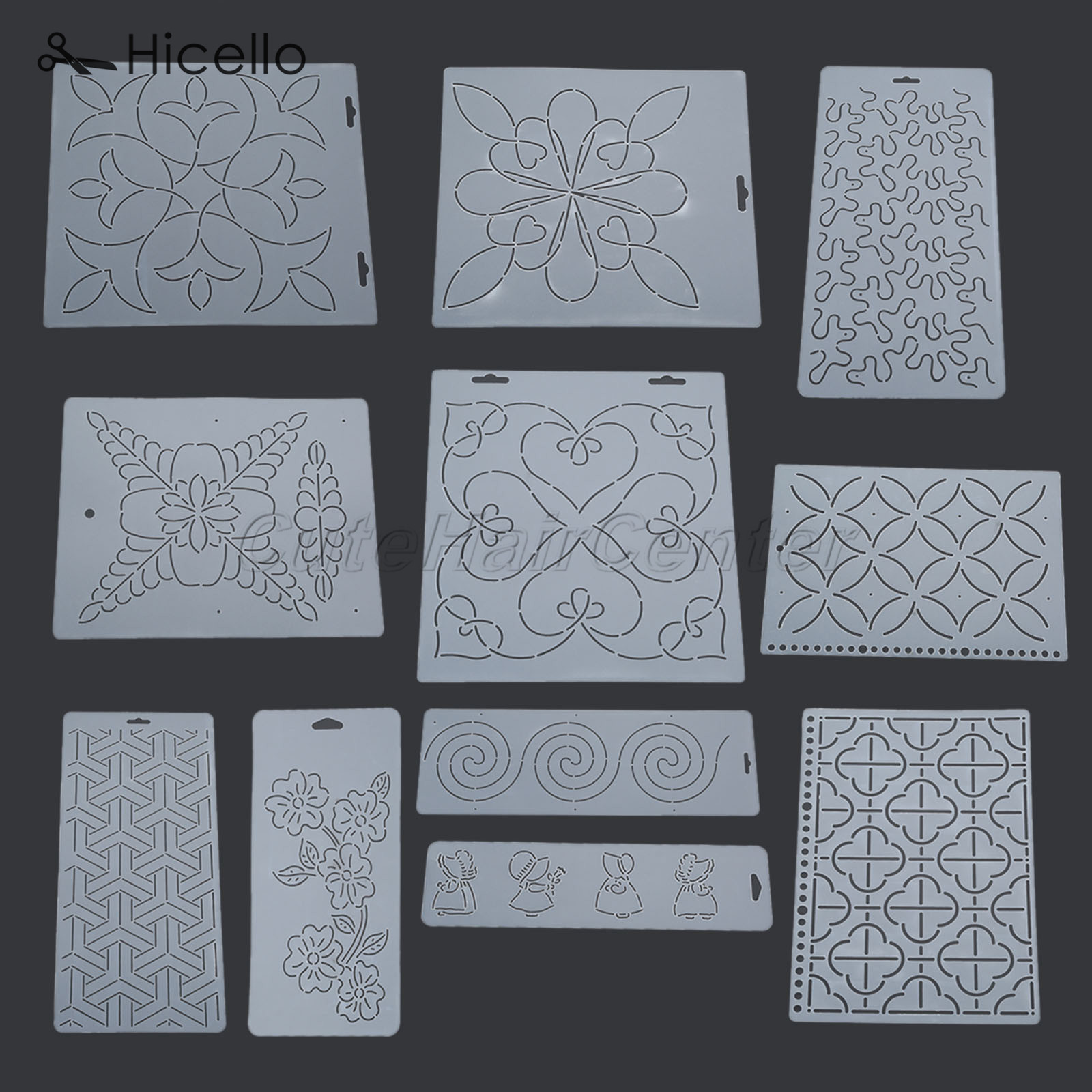 perfektchoice 3pcs Plastic Quilt Stencil Template Patchwork for DIY Sewing Embroidery