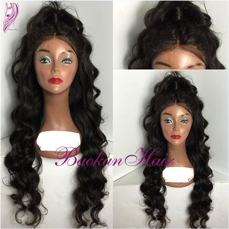 Wholesale middle Part 180% full synthetic hair lace front wig Heat Resistant hair wigs Loose Wave Kanekalon Half wigs party Wigs<br><br>Aliexpress