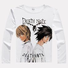 Japan Movie DEATH NOTE L Print T-shirts Long Sleeve Casual Tops Yagami Light Unisex Spring Autumn Tees T Shirts(China)
