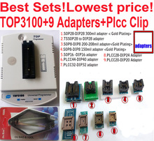 New TOP3100 USB universal programmer + 9 adapter EPROM MCU PIC AVR flash socket IC(China)