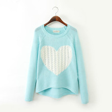 New 2016 Fashion Women Elegant Heart Pattern Pullover O-Neck Long Sleeve Knitwear Stylish Casual Slim knitted sweater Tops A325