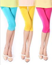 BK 2015 Wholesale Candy Colors Slim Elastic Ice Silk Capris Women Pants Short Trousers
